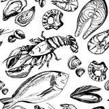 Modello disegnato a mano di frutti di mare Immagini Stock