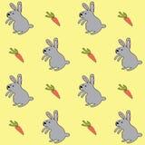 Modello disegnato a mano di pasqua con i conigli e le carote Fotografia Stock Libera da Diritti