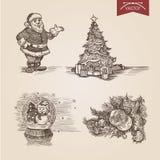 Modello disegnato a mano di stile dell'incisione di Santa New Year di Natale Fotografia Stock Libera da Diritti
