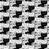Modello disegnato a mano di vettore dei gatti Arte di scarabocchio illustrazione di stock