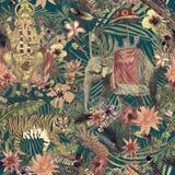 Modello disegnato a mano esotico senza cuciture dell'acquerello con le foglie, fiori, piume illustrazione di stock