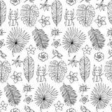 Modello disegnato a mano senza cuciture con gli scarabei e gli elementi tropicali Fotografie Stock Libere da Diritti