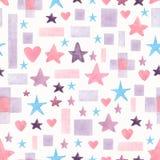 Modello disegnato a mano senza cuciture dell'acquerello con le forme geometriche differenti blu e viola di rosa, su un fondo bian royalty illustrazione gratis