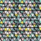 Modello disegnato a mano senza cuciture geometrico astratto Struttura moderna del grunge Fondo dipinto spazzola variopinta Fotografia Stock