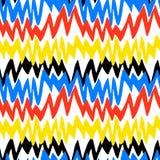 Modello disegnato a mano a strisce con le linee di zigzag Fotografia Stock
