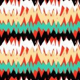 Modello disegnato a mano a strisce con le linee di zigzag Fotografie Stock Libere da Diritti