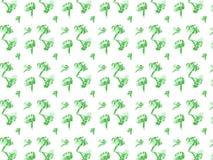 Modello disegnato a mano sveglio dei broccoli di scarabocchio Immagine Stock