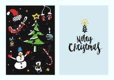 Modello disegnato a mano unico della cartolina di Natale con i disegni di spazzola ed iscrizione fatta nel vettore Fotografia Stock Libera da Diritti