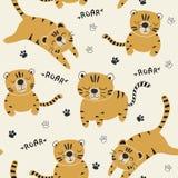 Modello divertente dei seamlesss delle tigri, illustrazione puerile per tessuto, scuola materna dei bambini, vestiti fotografia stock