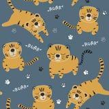 Modello divertente dei seamlesss delle tigri, illustrazione puerile per tessuto, scuola materna dei bambini, vestiti immagine stock