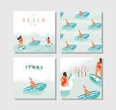 Modello divertente esotico con le ragazze del surfista, galleggiante della raccolta dell'insieme di carte di ora legale dell'estr Immagine Stock