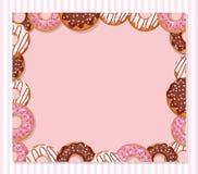 Modello dolce di progettazione del forno Struttura della ciambella del fumetto sul rosa pastello illustrazione vettoriale