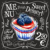 Modello dolce di progettazione di logo di vettore del dessert fresco Fotografia Stock