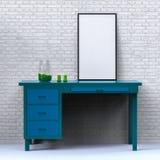 Modello domestico moderno della decorazione Manifesto sulla tavola illutration 3d Fotografie Stock