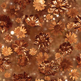 Modello dorato dei germogli di fiore Fotografia Stock