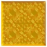 Modello dorato del tessuto del broccato dell'ornamento floreale Immagini Stock Libere da Diritti