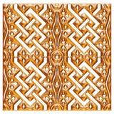 Modello dorato del tessuto del broccato dell'ornamento floreale Fotografia Stock Libera da Diritti