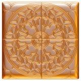 Modello dorato del tessuto del broccato dell'ornamento floreale Fotografie Stock Libere da Diritti
