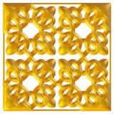 Modello dorato del tessuto del broccato dell'ornamento floreale Immagine Stock