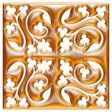 Modello dorato del tessuto del broccato dell'ornamento floreale Immagine Stock Libera da Diritti