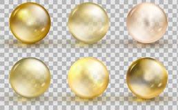 Modello dorato della palla di vetro Bolla dell'oro dell'olio isolata su fondo trasparente illustrazione vettoriale
