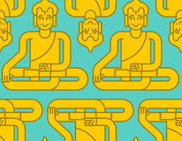 Modello dorato della statua di Buddha Backg di chiarimento e di meditazione illustrazione vettoriale