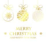 Modello dorato di Buon Natale Fotografie Stock Libere da Diritti