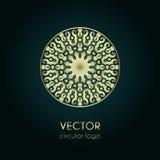 Modello dorato di progettazione di logo, emblema circolare creativo, icona decorativa Fotografia Stock