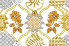 Modello dorato e d'argento del damasco Stampa geometrica di vettore senza cuciture illustrazione di stock