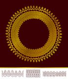 Modello dorato rotondo dell'estratto con tre spazzole illustrazione di stock