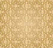 Modello dorato senza cuciture della carta da parati floreale Fotografia Stock