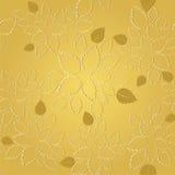 Modello dorato senza cuciture della carta da parati del pizzo delle foglie Fotografia Stock Libera da Diritti