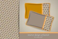 Modello e un insieme tribali senza cuciture di 2 cuscini decorativi di corrispondenza Immagine Stock