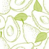 Modello eamless del profilo con l'avocado Fotografie Stock