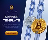 Modello editabile dell'insegna di valuta cripto Bitcoin All'unanimità monete fisiche isometriche del pezzo 3D Bitcoin dorato e l' Fotografia Stock