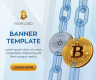 Modello editabile dell'insegna di valuta cripto Bitcoin Cardano monete fisiche isometriche del pezzo 3D Coi dorato di Cardano del Immagini Stock