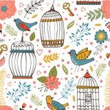 Modello elegante con i fiori, le gabbie per uccelli e gli uccelli illustrazione vettoriale