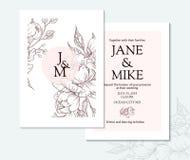Modello elegante d'annata della carta dell'invito di nozze con la peonia e le rose di vettore Fotografia Stock
