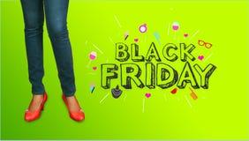Modello elegante del fondo di pubblicità di Black Friday della donna di acquisto Manifesto di vendita, pagina Web Immagine Stock