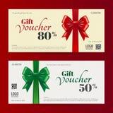 Modello elegante della carta di regalo di Natale o del buono di regalo Fotografia Stock