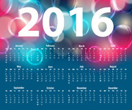 Modello elegante per il calendario 2016 Immagini Stock