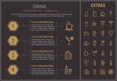 Modello, elementi ed icone infographic della bevanda Fotografie Stock Libere da Diritti