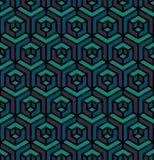 Modello esagonale del cubo isometrico senza cuciture del triangolo di vettore in blu ed in Teal Colors porpora Immagine Stock Libera da Diritti