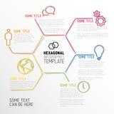 Modello esagonale moderno rapporto di Infographic fatto dalle linee Immagini Stock