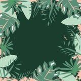 Modello esotico della pagina delle foglie verde intenso tropicali su backround verde illustrazione di stock