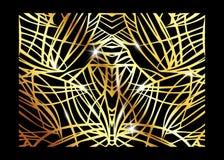 Modello esotico di lusso africano Opuscolo elegante, struttura geometrica brillante dell'oro Struttura astratta con la palma, fog illustrazione di stock