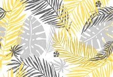 Modello esotico senza cuciture con le foglie di palma grige gialle su fondo bianco Illustrazione di tiraggio della mano di vettor Fotografie Stock Libere da Diritti