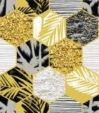 Modello esotico senza cuciture con le foglie di palma su fondo geometrico Immagine Stock