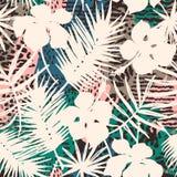 Modello esotico senza cuciture con le piante tropicali Fotografia Stock Libera da Diritti