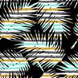 Modello esotico senza cuciture con le piante tropicali ed il fondo geometrico Immagini Stock Libere da Diritti